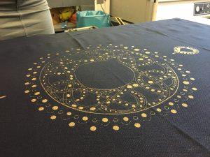 Nachdem das Sieb gelüftet wurde, befindet sich das Motiv nun gedruckt auf dem Textil.