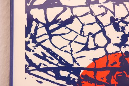 """Die Abbildung zeigt den Ausschnitt des zweifarbigen Art Prints """"Lampionblume"""". Im Detailfoto wird sehr deutlich die schöne ornamentale Pflanzenstruktur, die über der leuchtend roten Frucht liegt, abgebildet."""